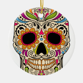 Crâne mexicain de couleur ornement rond en céramique