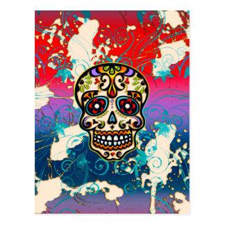 Crâne mexicain de sucre, jour des morts, ornements carte postale