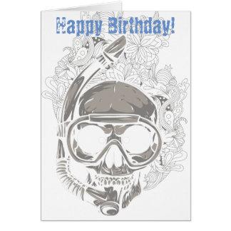 Crâne naviguant au schnorchel, anniversaire de cartes