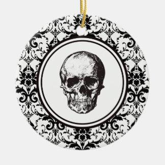 Crâne noir de motif de damassé de HALLOWEEN Ornement Rond En Céramique