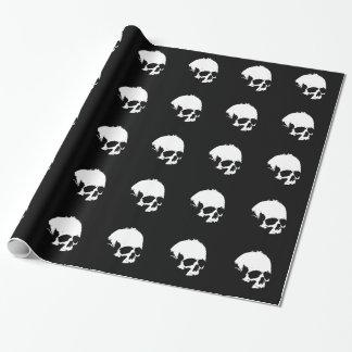 Crâne noir et blanc papier cadeau noël