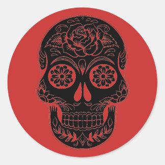 Crâne noir et rouge de sucre/jour des autocollants