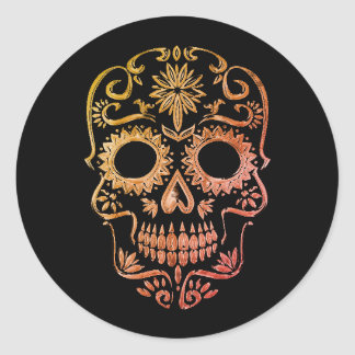 Crâne noir/orange de sucre/jour des autocollants