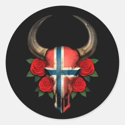 Crâne norvégien de Taureau de drapeau avec les Adhésif Rond