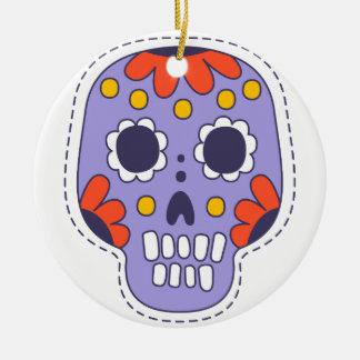 Crâne peint par Mexicain Ornement Rond En Céramique