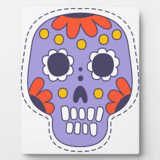 Crâne peint par Mexicain Plaque Photo