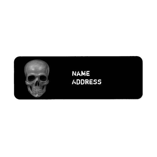 Crâne réaliste étiquette d'adresse retour