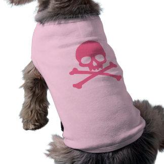 Crâne rose simple et os croisés t-shirt pour chien