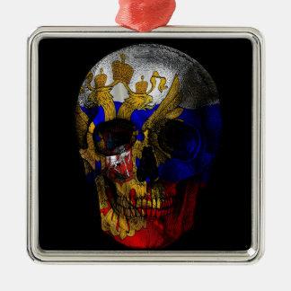 Crâne russe de drapeau ornement carré argenté