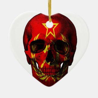 Crâne russe de drapeau ornement cœur en céramique