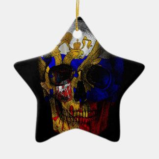 Crâne russe de drapeau ornement étoile en céramique