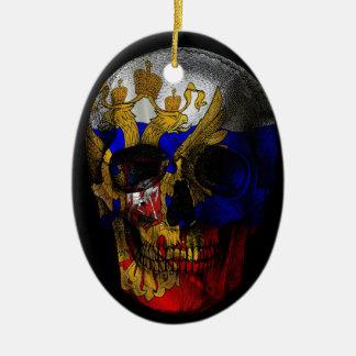 Crâne russe de drapeau ornement ovale en céramique