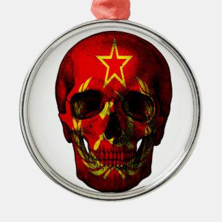 Crâne russe de drapeau ornement rond argenté