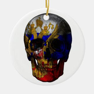 Crâne russe de drapeau ornement rond en céramique
