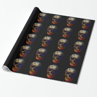 Crâne russe de drapeau papier cadeau