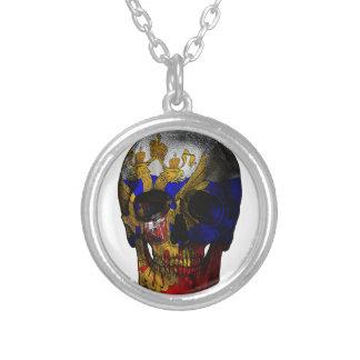 Crâne russe de drapeau pendentif rond