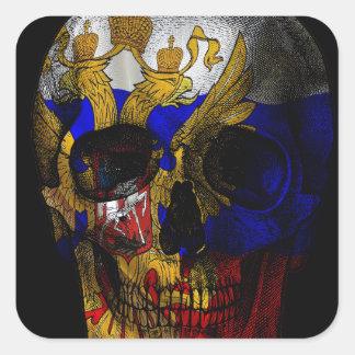Crâne russe de drapeau sticker carré