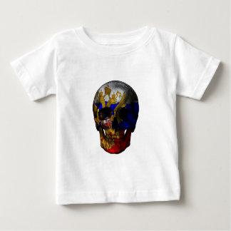 Crâne russe de drapeau t-shirt pour bébé