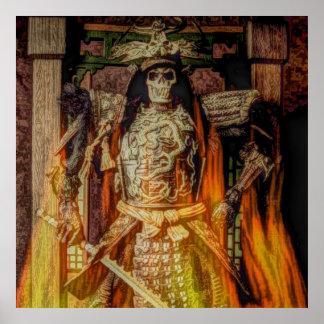 crâne samouraï japonais de samouraïs d'armure de poster