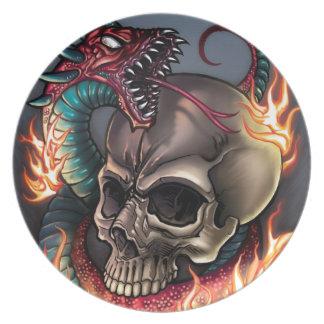 Crâne + Serpent Assiettes En Mélamine