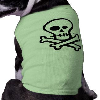 Crâne simple et os croisés de B&W T-shirt Pour Chien