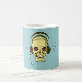 Crâne tête de mort écouteur skull earphones mug blanc