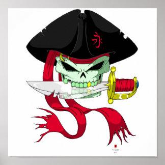 Crâne Ver. complet de pirate Posters