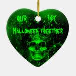 Crâne vert éffrayant mauvais ęr Halloween ensemble Ornement Cœur En Céramique