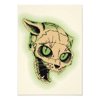 Crâne vintage de chat carton d'invitation  12,7 cm x 17,78 cm