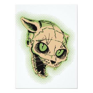 Crâne vintage de chat carton d'invitation  13,97 cm x 19,05 cm