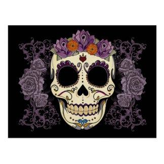 Crâne vintage et carte postale de roses
