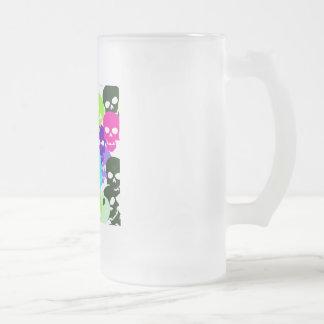 Crânes colorés mug en verre givré