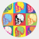 Crânes de Popart Autocollants Ronds