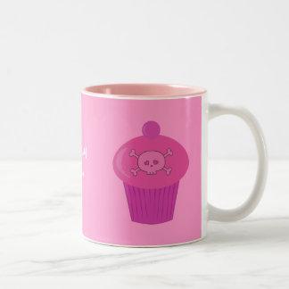 Crânes et petits gâteaux roses mignons personnalis mug