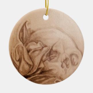 Crânes et roses ornement rond en céramique