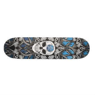 Crânes gothiques - bleu plateau de planche à roulettes