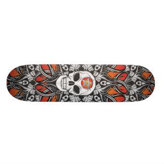 Crânes gothiques - orange planches à roulettes customisées