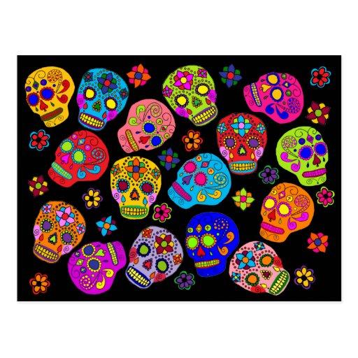 Crânes mexicains de sucre d'art populaire carte postale