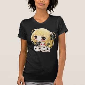 Crânes mignons de fille et de kawaii de chibi t-shirts