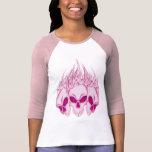 Crânes roses flamboyants t-shirts