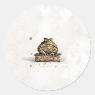 Crapaud d'aquarelle sticker rond