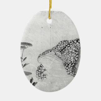 Crapaud et fleurs - Japonais (période d'Edo) Ornement Ovale En Céramique