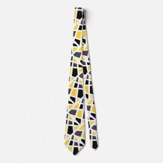 Cravate Abrégé sur gris jaune noir géométrique