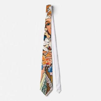 Cravate Alphonse Mucha - fleur - rétro art Nouveau