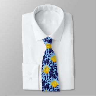 Cravate Anémone de William Morris, marine et jaune de