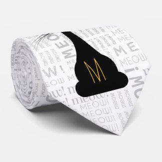 Cravate APAL : Chat noir décoré d'un monogramme