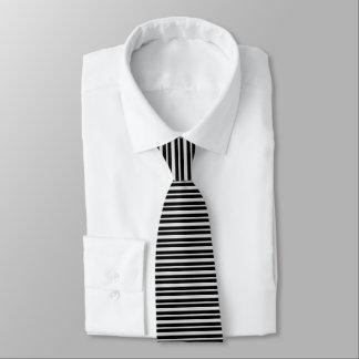 Cravate Argent épais et mince et rayures noires