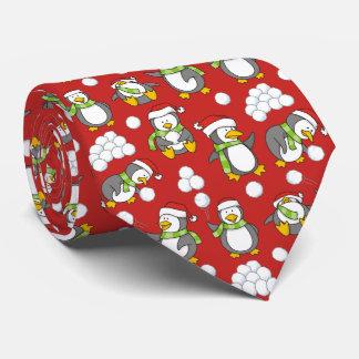 Cravate Arrière - plan de pingouins de Noël