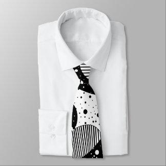 Cravate Art géométrique abstrait moderne noir et blanc
