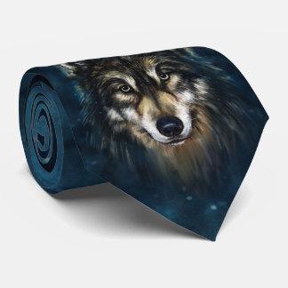Cravate artistique de visage de loup